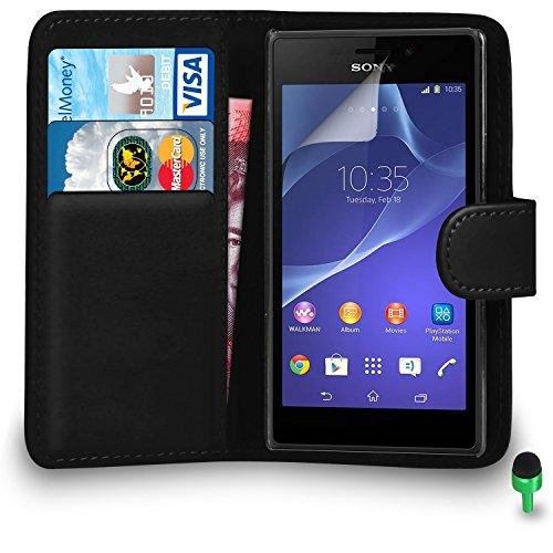 POUR Sony Xperia M2 - SHUKAN® Prime Cuir NOIR Portefeuille Cas Coque Couverture VERT Cap Protecteur d'écran & Tissu de polissage