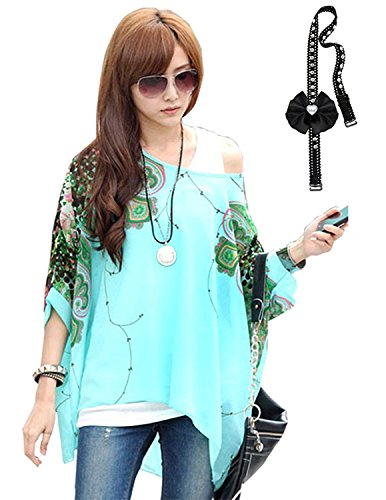 Sitengle Damen Sommer Böhmische Flügel Ärmel Chiffon Kurzarm Strand Beiläufige Shirt Bat Sleeve Lose Hemd T shirt Bluse Tops Grün One Size (Blumen-hawaii-shirt)