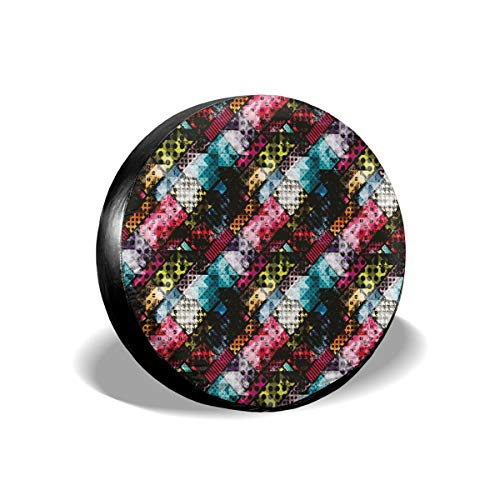 BBABYY Tire Cover Tire Cover Wheel Covers,Grunge Modern with Polka Dots Tartan Murky Toned Effects Diagonals Kitsch Pattern,for SUV Truck Camper Travel Trailer Accessories 16 inch -