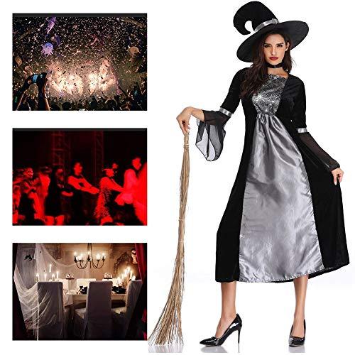 JH&MM Halloween Kostüm Damen Silber Schwarz Königin Teufel Böse Hexe Maskerade - Silber Hexe Kostüm