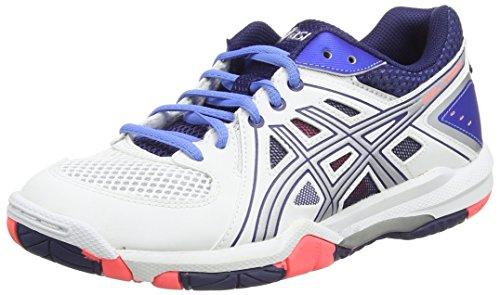 Asics Gel-task, Chaussures de Volleyball Femme Blanc (white/powder Blue/flash Coral 0147)