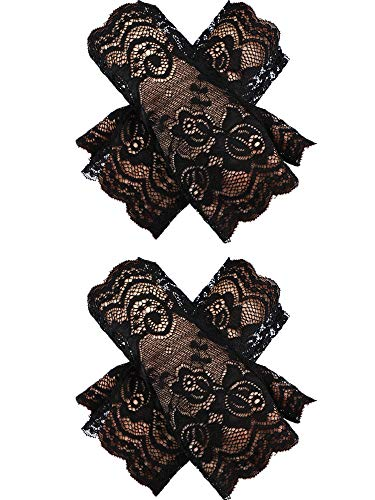 22731f7958c0a4 Schwarze Spitzen-handschuhe (Chuangdi 2 Paar Kurze Spitzenhandschuhe UV-Fingerlose  Spitzen Handschuhe für