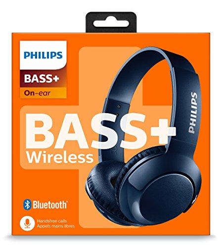 Philips SHB3075BL - Auriculares Inalambricos (Bluetooth, con micrófono, aislantes de Ruido, Plegables, 12 h dereproducción) Azul