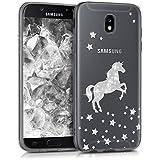 kwmobile Hülle für Samsung Galaxy J5 (2017) DUOS - TPU Silikon Backcover Case Handy Schutzhülle - Cover klar Einhorn Design Silber Transparent