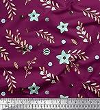 Soimoi Rosa Popeline di Cotone Tessuto Berry & Cenere Semi Le Foglie Tessuto Artigianale Stampato dal Metro 42 Pollici Larghi
