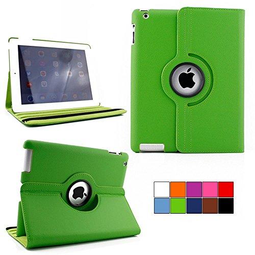 COOVY® Cover für Apple iPad 2/3 / 4 ROTATION 360° SMART HÜLLE TASCHE ETUI CASE SCHUTZ STÄNDER | Farbe grün - Stoff-display-racks