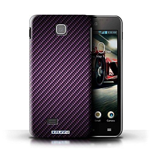 Kobalt® Imprimé Etui / Coque pour LG Optimus F5/P875 / Gris conception / Série Motif de Fibre de Carbone Pourpre