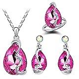 Miyaia Women Rhinestones Necklace Earrings and Rings Set (Fuschia)