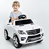 Goplus Lizenz Kinderauto Mercedes-Benz ML350 Roadster Kinderfahrzeug Elektro Auto 2 Motoren (Weiss)