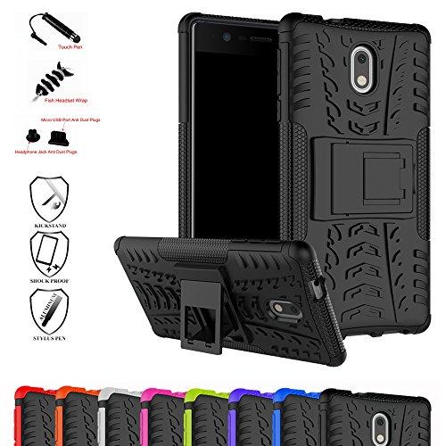 Nokia 3 Hülle,Mama Mouth [Heavy Duty] Rugged Armor stoßfest Handy Schutzhülle Silikon Tasche Ständer Hülle Case mit Standfunktion für Nokia 3 Smartphone,Schwarz