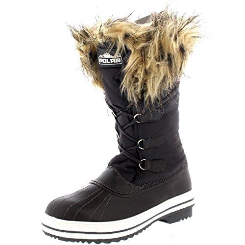 Polar Damen Nylon Warm Pelz Trim Ente Regen Schnee IM Freien Tall Winter Regen Stiefel - Grau - GRE38 AYC0113 (Stiefel Pelz-trim)