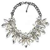 Bobury Women Crystal Rhinestone Flower Bib Chunky Statement Necklace for Party