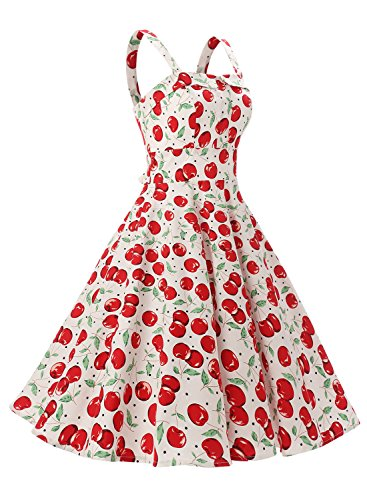 Rockabilly Vintage 50er Jahre Polka Dots Kleid knielang mit Faltenrock - 3