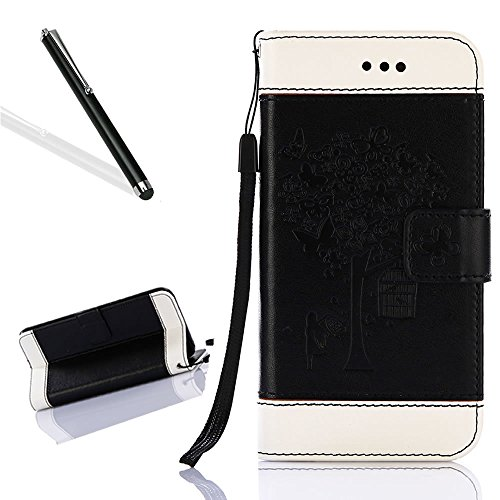 Flip Custodia per iPhone 6,Custodia in Pelle per iPhone 6S,Leeook Creativo Wrist Strap Retr¨° Nero Grigio Colore Contrasto Design Goffratura Fiore Albero Farfalla Uccello Ragazza Modello Stile di Libr Albero Ragazza,Bianco Nero