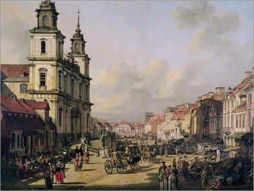 Alu Dibond 120 x 90 cm: Warschau: Krakowskie Przedmiescie von Bernardo Bellotto (Canaletto) / Bridgeman Images (Polnische Schlitten)
