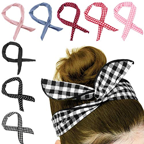 Tclothing Pack of 8 Bendy Hairband Bunny Ear Tie Bow Headband Twist Bow Wired Cotton Headbands with Polka Dots or Stripes for Women Stripe Bow Tie