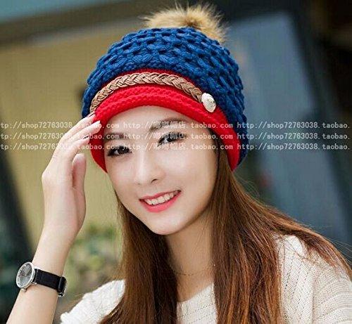 Winter Hat Knit Russian Cute Trapper Warm Cool Girl Women Scales Knit Blue