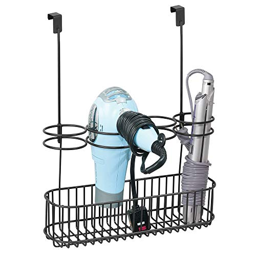 mDesign Fönhalter ohne Bohren - ideales Türregal zur Fön Aufbewahrung im Bad - optimaler Badorganizer mit 4 Halterungen für Lockenstab, Glätteisen und Bürste - schwarz