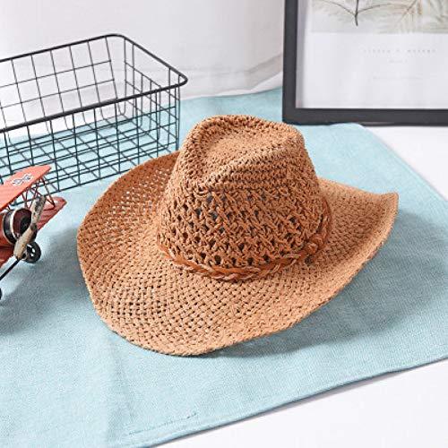 (UVYANG Handgemachte Stroh Sonnenhut Männer Western Cowboy Sommer Strandkappe Frauen Solide Hohl Stroh Jazz Hüte)