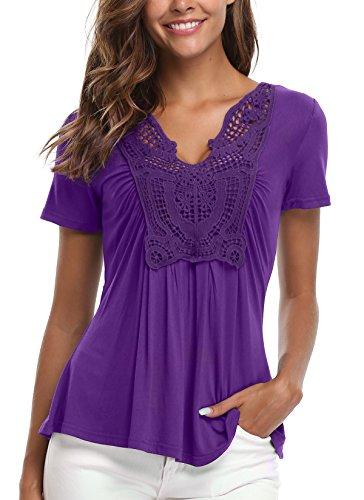 MISS MOLY Bluse Damen Elegant Kurzarm Lässige Oberteile T-Shirt Violett Small - Trim Fit Shirt