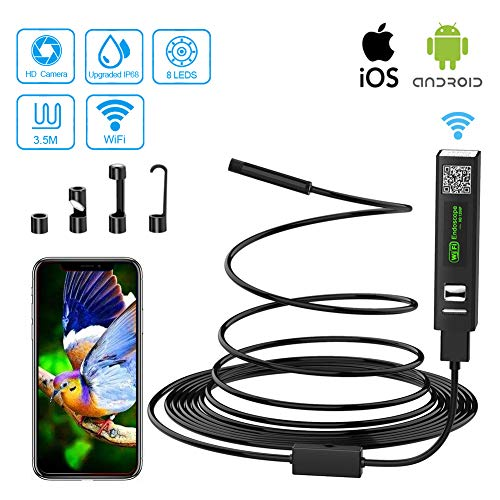 WiFi Endoskopkamera USB Endoskop Inspektionskamera 2.0 Megapixels 1200P HD Wasserdichtes Endoskop Kamera Mit 8 LED-Licht für Android iPhone Windows(11.5ft)