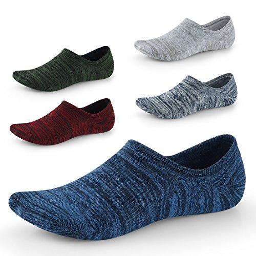 Seesily calzini fantasmini uomo taglio basso anntiscivolo – invisibili per mocassini scarpe oxford da barca taglia eur 39-45 5 paia (4)