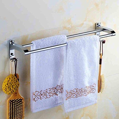 QFF Acier inoxydable bar serviette de bain serviette suspendus tringles porte-serviettes pendentif salle de bain double barre serviette crochet de suspension (taille : 40 cm)