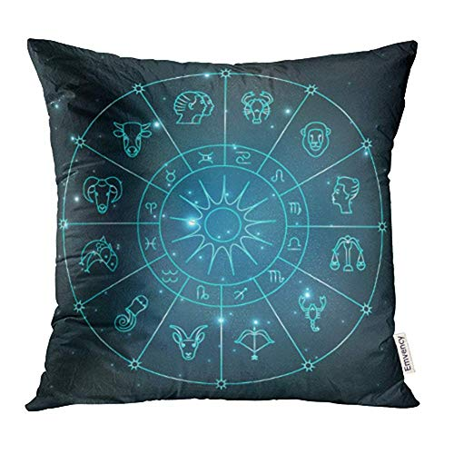 WBinHua Zierkissenbezüge, Throw Pillow Covers, Gray Zodiac Zodiacal Circle with Astrology Signs Design Abstract Animal Aquarius Print Pillowcases 18