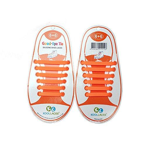 Price comparison product image NUOLUX 12pcs Children No Tie Elastic Sneaker Shoe Laces - Orange