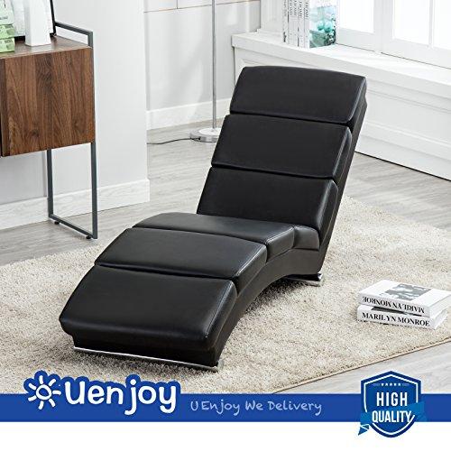 UEnjoy Relaxsessel Leder Relaxliege Wohnzimmer Liegestuhl Relaxliege Modern Schwarz