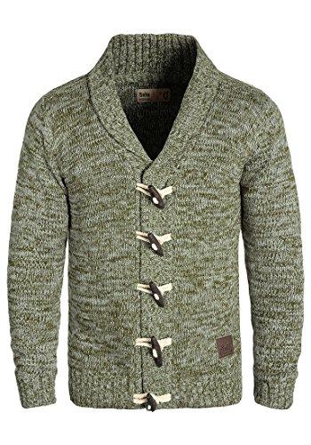 SOLID Prewitt Herren Strickjacke Cardigan mit Schalkragen aus 100% Baumwolle Meliert Ivy Green (3797)