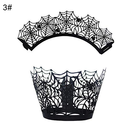 Spider Web Cat House Papier Cupcake Wrappers Halloween Party Kuchen Decor 3# ()