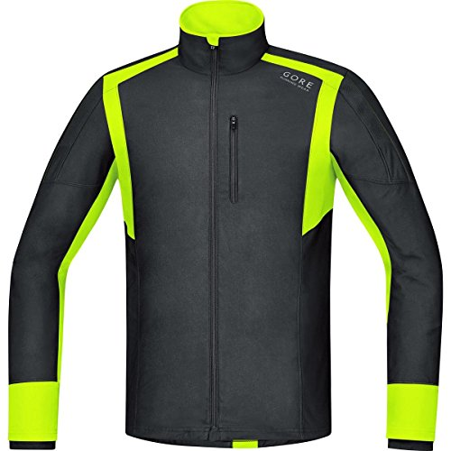 Gore Running Wear Air Windstopper - Camiseta de manga larga para hombre, color negro / amarillo, talla XL