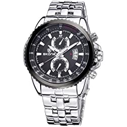 SKONE Luminous Hands Calendar Display Two Small Decoration Dial Herren Uhr Quarz mit Alloy Band (Silver)