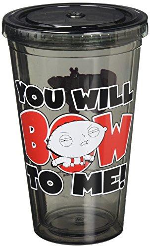 Family Guy Stewie Cup-- voyage Cup-- Tasse de voyage à Double Paroi en acrylique Livré avec une Paille (16 oz,