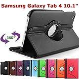 HTM NOIR pour Samsung Galaxy Tab 4 10.1 pouces T530/T531/T535/T5310 avec 1 Stylet Offert- Housse Pochette Multi Angle ROTATIVE 360 - Nombreuses couleurs disponibles - Coque Etui en PU CUIR, rotation à 360°