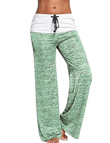 BAISHENGGT Damen Casual Palazzohose Marlene Hose Sport Hosen mit weitem Bein Grün-Weiß Large