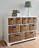 Tetbury Wide Storage Chest of Drawers with Wicker Baskets