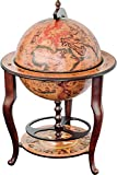 Stilemo Globus bar im Antikdesign - Globusbar in edlem rotbraun - geöffnete Hausbar antik 115 cm hoch - 61 cm Durchmesser - für eine stilvolle Whiskey Aufbewahrung (braun)