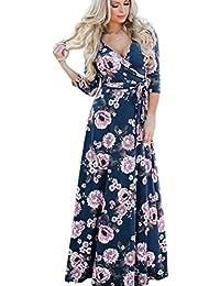 ab147e45ce1fd Landove Robe Longue Femme Boheme Manche 3/4 Été Tunique Col V Fleurie  Vintage Chic