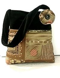 Sac porté à l' épaule - Velours noir, Tissu italien/Batik