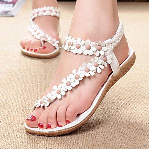 Webla Damen Süßer Sommer Böhmen Süß Perlen Sandalen Clip Toe Sandalen Strand Schuhe Herringbone Sandalen Schuhe White