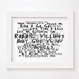 `Noir Paranoiac` Kunstdruck Poster - ROBBIE WILLIAMS - Life Thru A Lens - Unterzeichnet und Nummerierten Limitierte Auflage Typografie Ungerahmt 25 x 20 cm (10 x 8 inch) Wand Kunst Druck Text Lyrisch Grafik Plakat - Song Lyrics Art Print Poster
