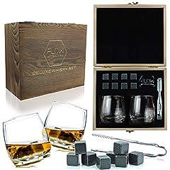 Idea Regalo - FLOW Barware - Set di bicchieri da whisky a dondolo e pietre da whisky, in confezione regalo