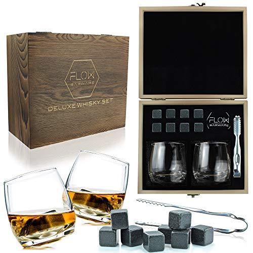 Flow Barware - Juego de vasos de whisky y piedras de madera para whisky