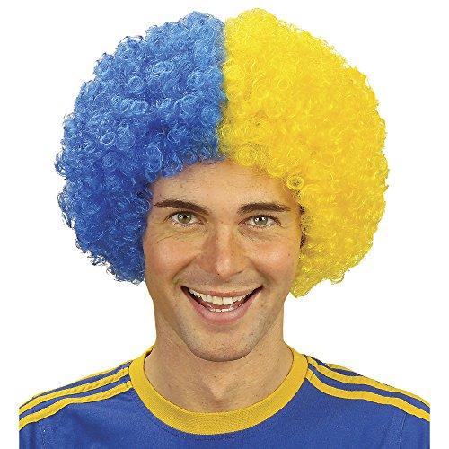 ige Fußballfan-Perücke im Beutel, blau / gelb (Lockige Clown Perücke Gelb)