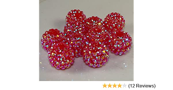 RuiChy 20pcs 10mm Clear Crystal Rhinestone Disco Ball Pave Beads Charms Jewelry Makings