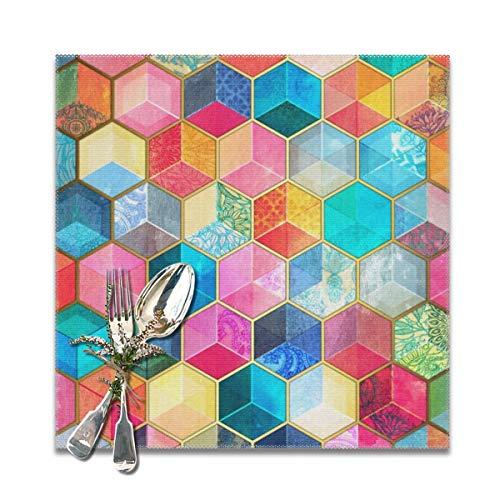 Cocoal-ltd Crystal Bohemian Wabenwaben, buntes sechseckiges Muster, Tischsets für Esstisch, waschbar, hitzebeständig (30,5 x 30,5 cm) 6er-Set Ltd Crystal