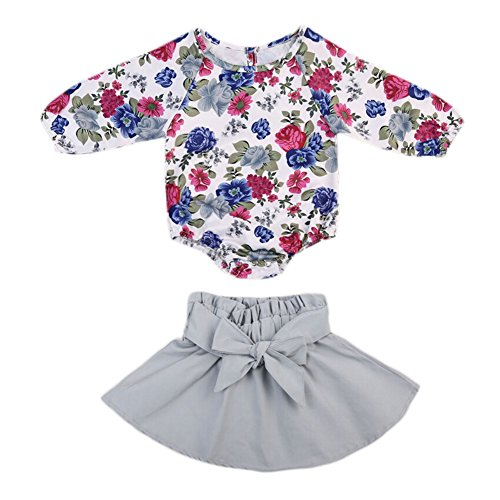 Zantec 2 teile / satz Baby Mädchen Blume printted Overall + große Bowknot kurze Kleid Kleidung Set (Gerber Baby-overalls)