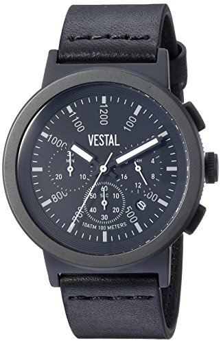 Vestal Men's Retrofocus Chrono' Quartz Stainless Steel and Leather Dress Watch, (Model: SLRCL002) One Size Black